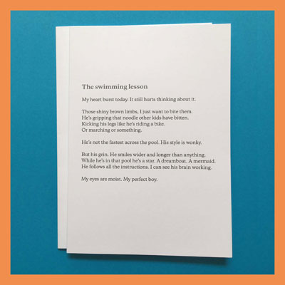 Poetry greetings cards
